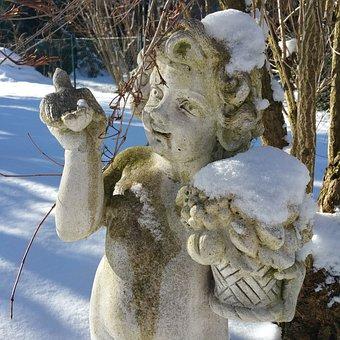 Cherub, Sculpture, Stone, Snow, Stone Figure