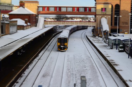 Snow, Train, Station, Season, Winter, Traveling