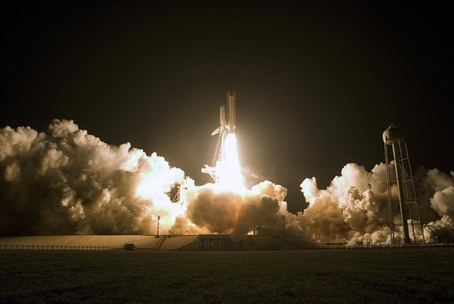 Space Shuttle, Start, Fire, Smoke, Take Off, Spaceport