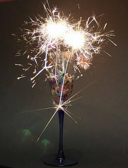 Champagne Glass, Sparkler, Confetti, Prost, Celebration