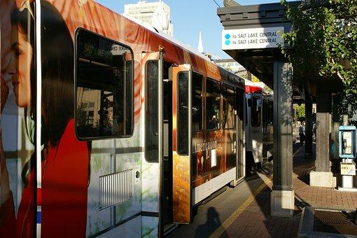 South Temple, Salt Lake City, Utah, Tram, Station, Usa