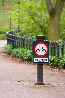 No Cycling, Park, Sign, Signage, Symbol, Icon, Warning