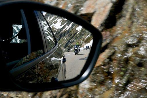 Rear Mirror, Tracker, Motorcyclist, Alpine Road