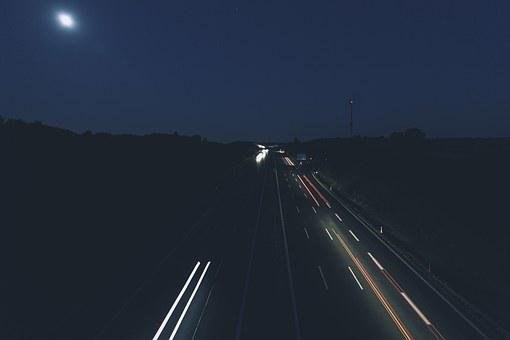 Highway, Light, Trace, Lights, Traffic, Night, Road
