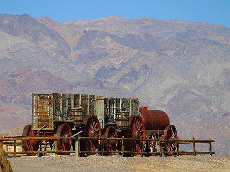 Steam Engine, Death Valley, Train, Loren, Transport
