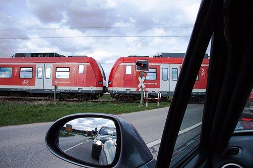 Traffic, Transport, Rear Mirror, S Bahn, Red, Train
