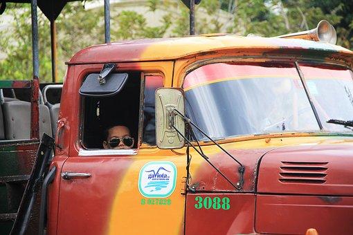 Truck, Sunglasses, Rear Mirror, Driver's Cab, Cool
