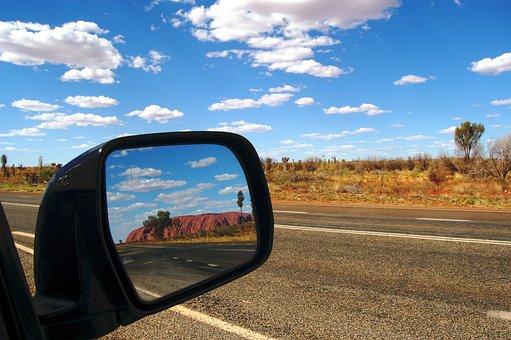 Ayers Rock, Uluru, Australia, Outback, Rear Mirror