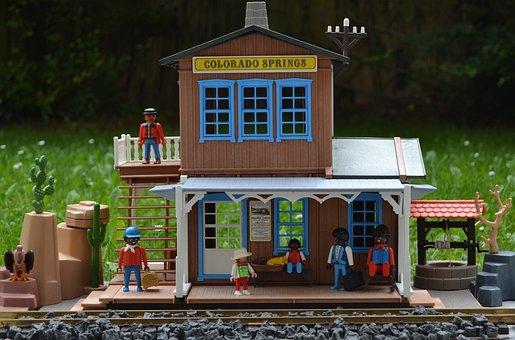 Playmobil, Western, Railway Station, Usa