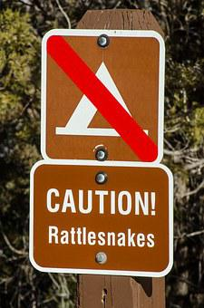 Caution Rattlesnakes, Rattlesnake, Warning, Sign