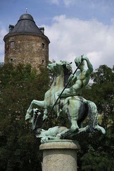 Statue, Sculpture, Figure, Art, Dragon Slayer, Plauen