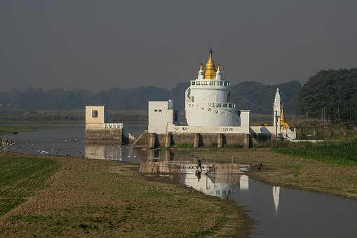 Burma, Myanmar, Lake, Pagoda, Temple, Buddhism, Gold