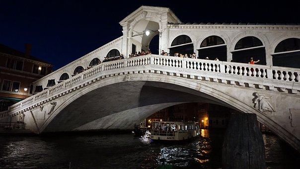 Rialto Bridge, Bridge, Venice, Channel, Architecture