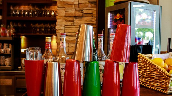 Bar, Cups, Drink, Shaker, Glass, Colorful, Bottles, Cup
