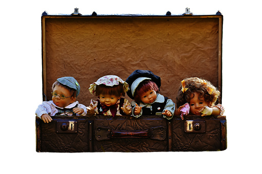 Dolls, Children, Luggage, Antique, Funny, Cute, Toys