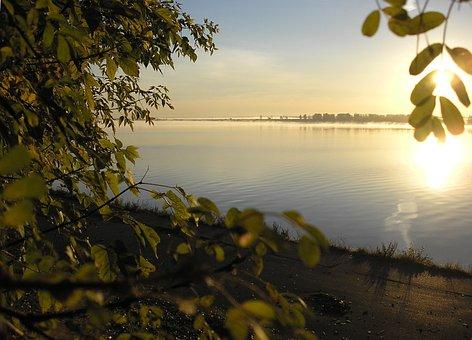 River, Dawn, Sun, Sky, Leaves, Light, Beach, Branch