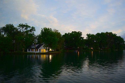 House, Lake, Evening, Water, Nature, Summer, Landscape