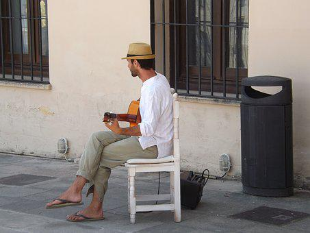 Man, Playing, Guitar, Street, Chair, Young, Play, Male