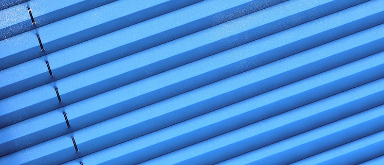 Pleated, Privacy, Window, Sun Protection, Blue, Fabric