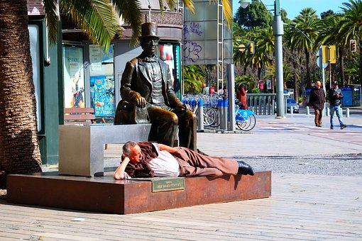 Man, Monument, Street, Malaga, Spain, Travel, People