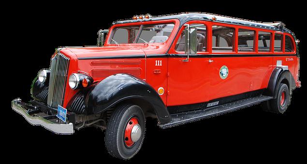 Bus, Usa, Oldtimer, Vehicle, Old, Red, Oldie