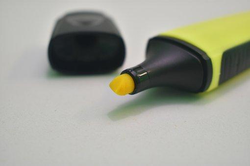 Highlighter, Yellow, Marker, Office, Stationery, School