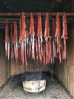 Alaska, Smoking Salmon, Six Mile Lake
