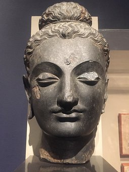 Museum, Statue, Sculpture, Stone, Ancient, Head, Buddha
