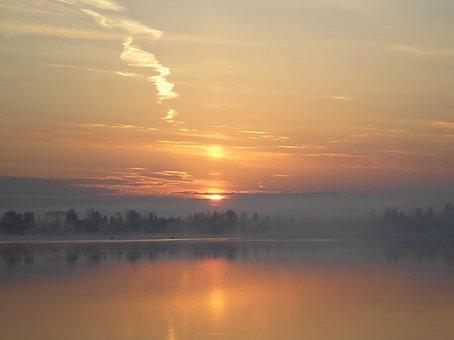 Dawn, River, Morning, Sky, Beach, Early Morning