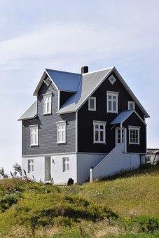 House, Black, White, Blue, Sky, Building, Residence