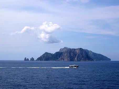 Capri, Sea, Italy, Summer, Holidays, Faraglioni, Boats