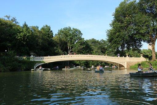Bridge, Boats, Water, Central Park, City, Summer