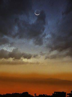 Moon, Sky, Sunset, Blue Sky, Night, Clouds, Nature