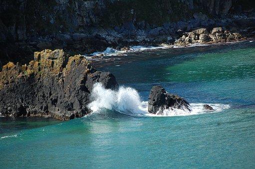 Antrim Coast, Northern Ireland, Rocks, Water, Coast