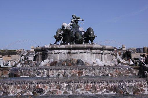 Gefion, Fountain, Stone, Copenhagen, Denmark, Blue Sky
