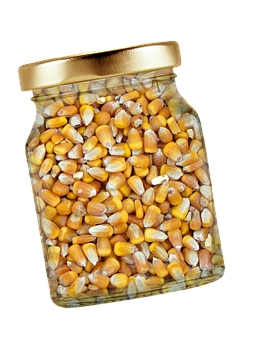 Corn, Glass, Lid, Corn Kernels, Isolated, Exemption
