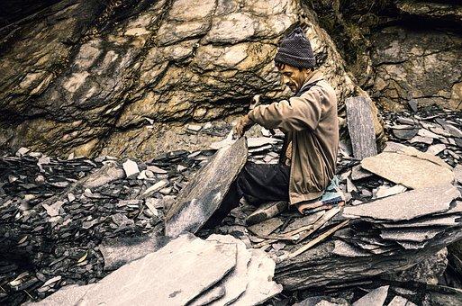 Labor, India, Stone Carver, Himachal Pradesh