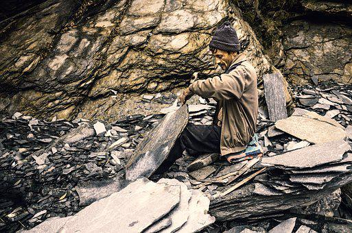 Labor, India, Stone Carver, Himachal Pradesh