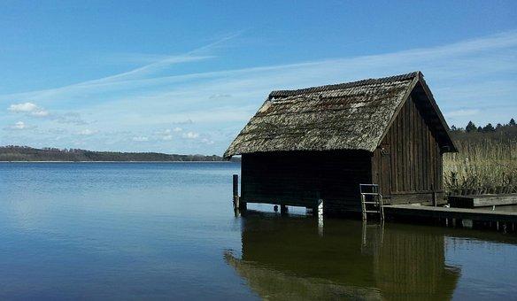 Fisherman's Hut, Schaalsee, Lake, Water