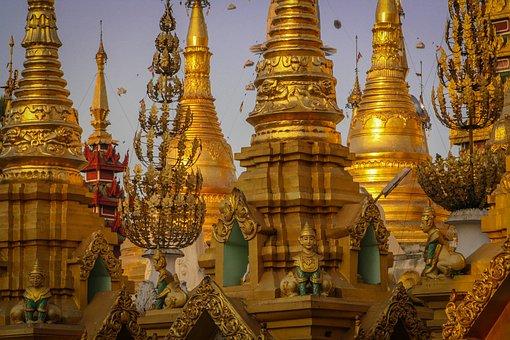 Myanmar, Burma, Light, Nice View, Travel, Pagoda, Gold