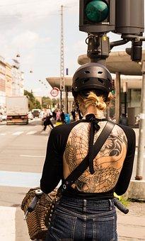 Girl, Bike, Woman, Face, Fashion, Makeup, Clothing