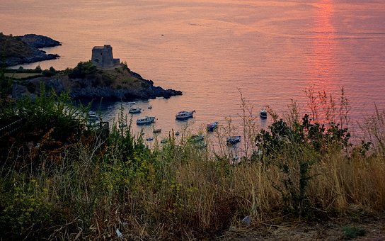 Sunset, Sea, San Nicola Arcella, Calabria, Italy, Bay