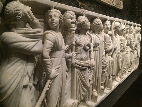 Roman, Sarcophagus, Ancient, Sculpture, Stone, Muses