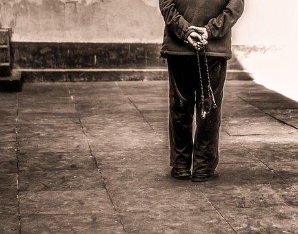 Old Man, Walking, Prayer Beads, Solitude, Old, People