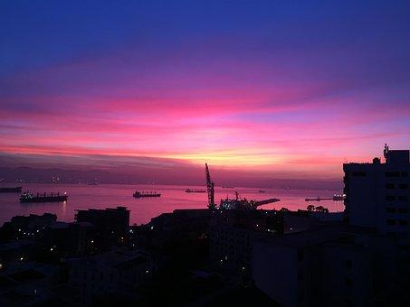 Sunset, Gibraltar, Sea, Sky, Mediterranean, Europe