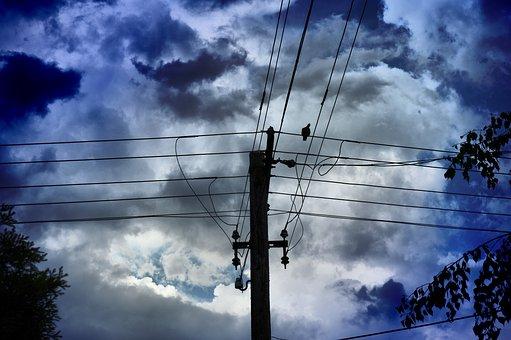 Clouds, The Gathering Storm, Sky, Lights, Nightfall