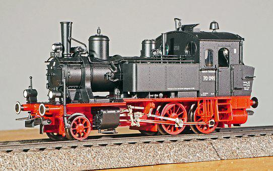 Steam Locomotive, Model, Scale H0, 1-87, Locally Ground