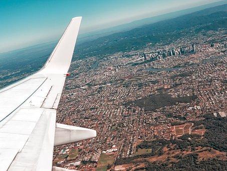 Aerial, Brisbane, City, Sky, Plane, Skyline