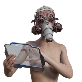 Gas Mask, Apocalypse, Monitor, Woman, Naked, Sexy
