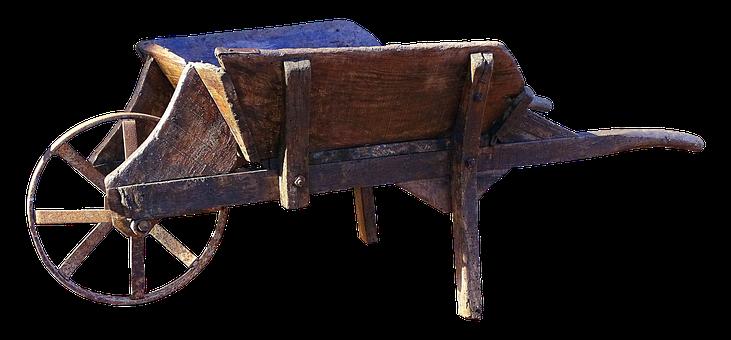 Wheelbarrow, Old, Wooden Cart, Cart, Nostalgia